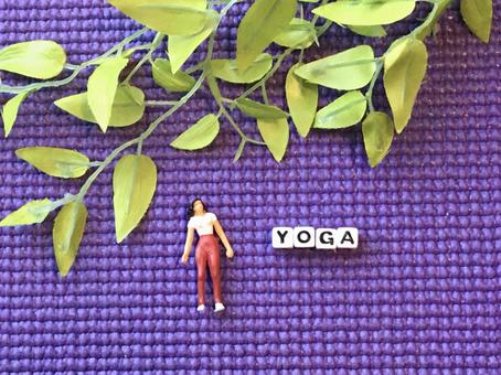 Yoga mat + diorama woman + fake green