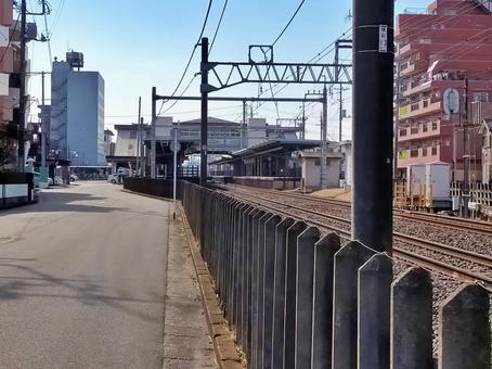 駅と街並み (風景素材)