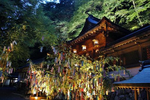 Kyoto Kibune Shrine Tanabata bamboo decoration light up