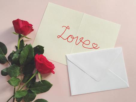 Red rose and love letter Love