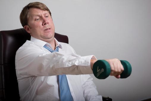 Dumbbell exercising foreigner salaried worker 8