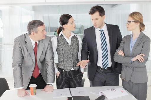 Business team to stand up and make a meeting 7