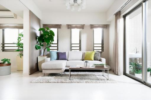 Fashionable living room full of greens