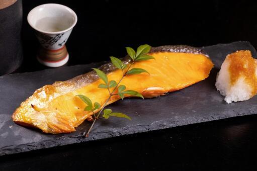 Salmon grilled fish radish grated sake set meal izakaya menu