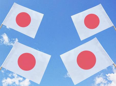 Lots of Hinomaru flags on blue sky