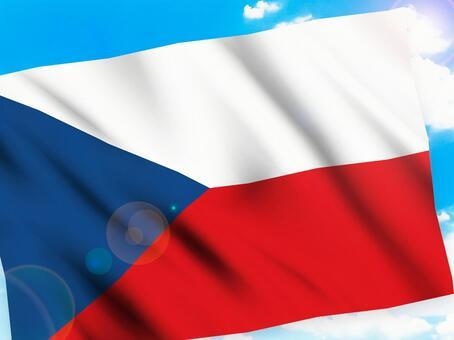 藍藍的天空和捷克國旗