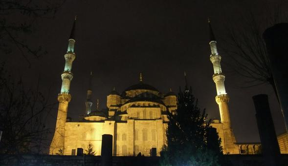 Istanbul Blue Mosque Light Up