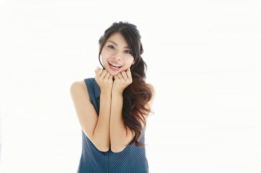 Japanese woman holding both cheeks with both hands 4