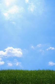Blue sky with banks and clouds Vertical position