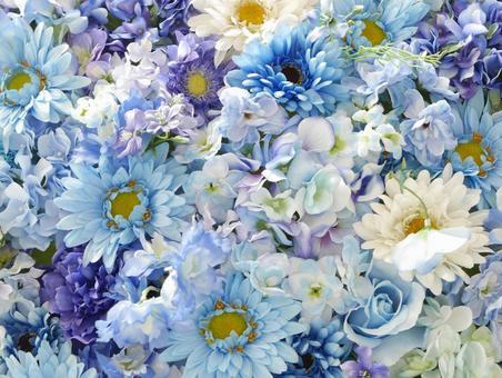 Background (light blue, blue, purple, blue flowers)