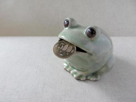 Frog piggy bank and money (3)