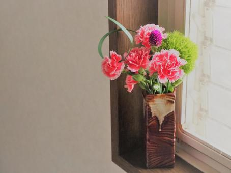 Flowers on the windowsill