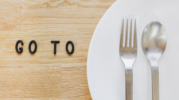 GO TO EAT 08 Image material (wood grain, plate background)