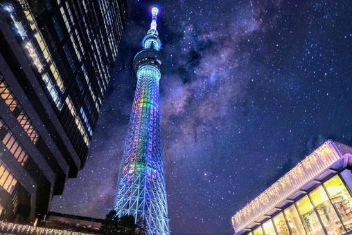 도쿄 스카이 트리와 밤하늘
