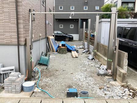 Newly built detached carport gate installation work