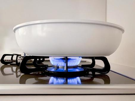 Gas stove fire (low heat)