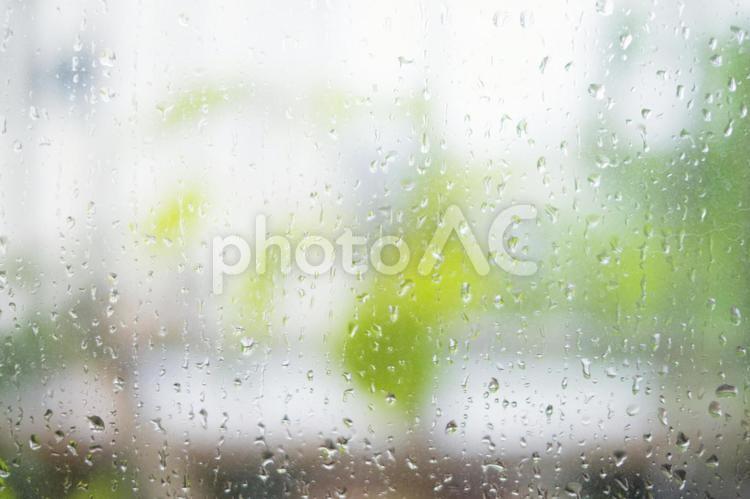 窓ガラスの雨つぶ_水滴の写真