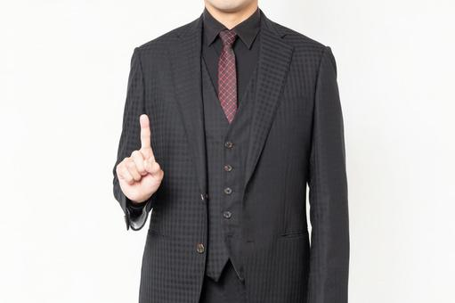 A businessman showing points in front of a white background
