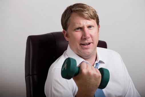 Dumbbell exercising foreigner salaried worker 6