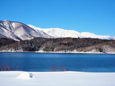 Northern Alps and Lake Aoki in winter