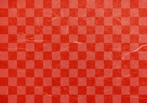Checkered red Japanese paper texture background material