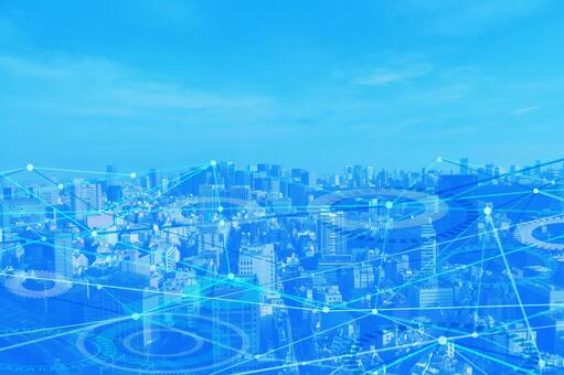 Network technology cityscape blue background material