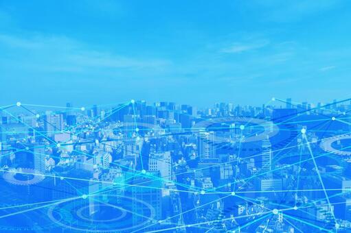 네트워크 기술 거리 파란색 배경 소재