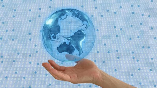 Earth floating on the hand (image of the Internet)