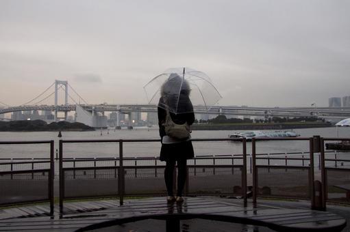 Rainbow bridge on rainy day