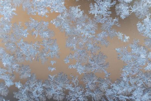 Ice crystals, black background