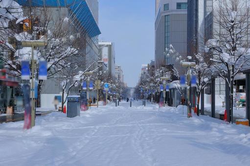 Asahikawa shopping park in winter