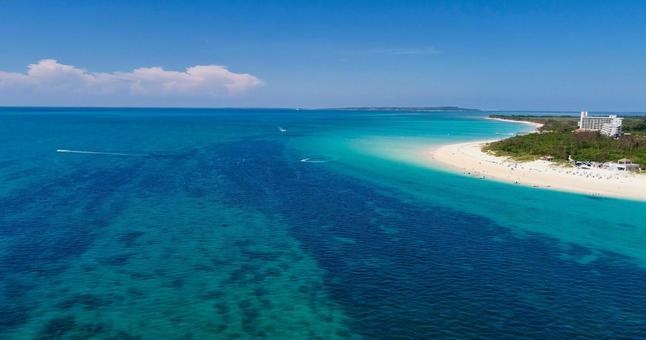 Okinawa, Miyakojima Maehama beach aerial view