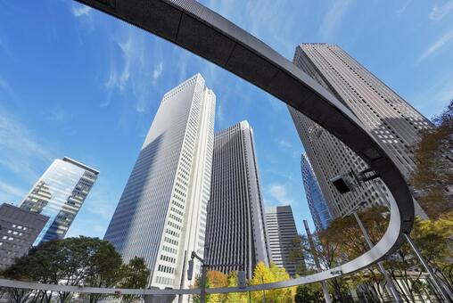 Shinjuku West Exit / Sign Ring and Skyscrapers