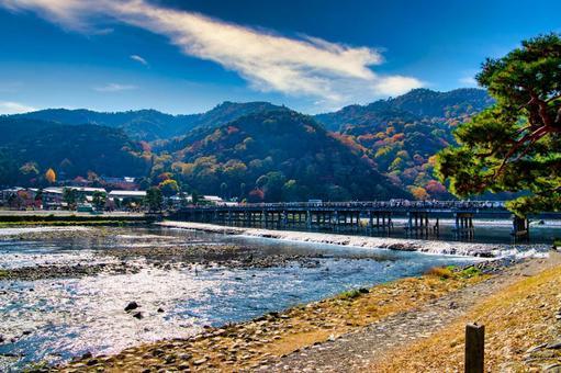 Autumn Kyoto Arashiyama Togetsu Bridge