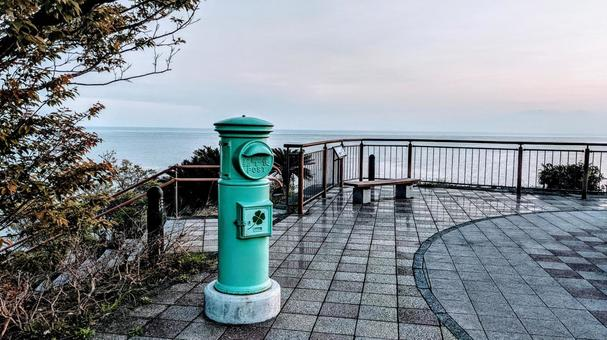 Colorful green post roadside station Ibusuki