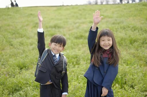 Elementary school boy and girl 29