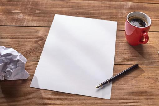 Paper waste and writing instruments and coffee 4