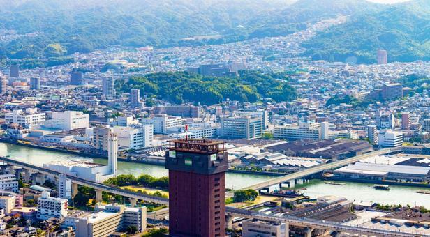 Cityscape of Hiroshima City and Fuchu Town