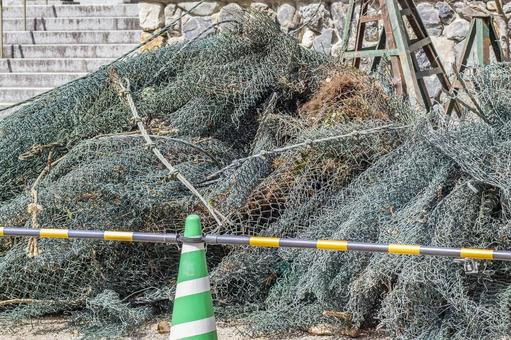 Rockfall protection net removed 3