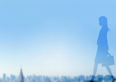 Walking female silhouette