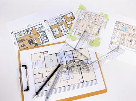 House design floor plan Protractor and triangle ruler bird's-eye view