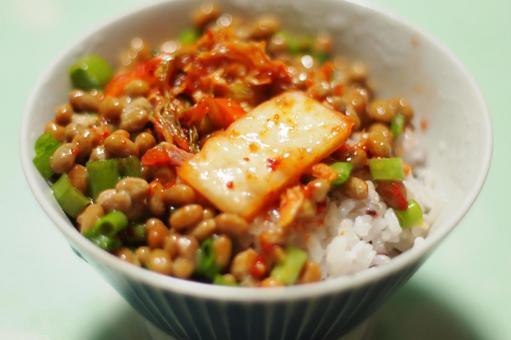 納豆泡菜飯