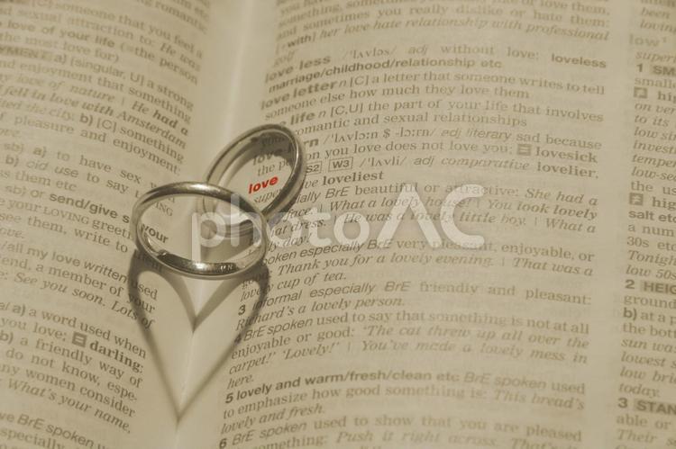 指輪でハートの影を作るの写真