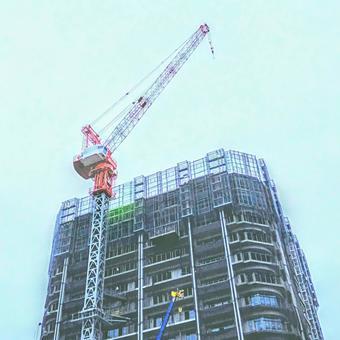 도시 개발! 크레인 (호이스트)을 이용한 건물의 건축 공사