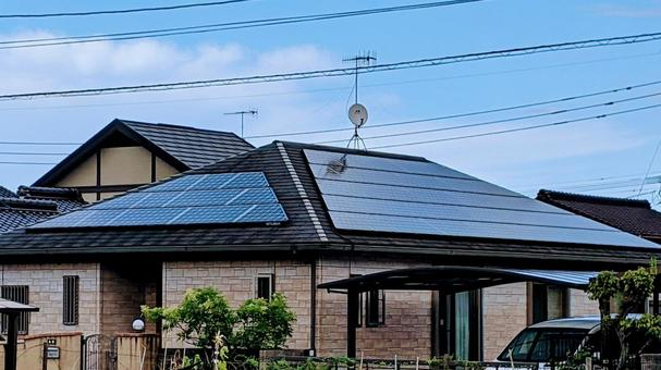 Solar panels installed on the west and south sides of the roof