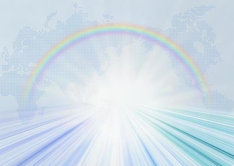 세계 발전 빛나는 미래 무지개