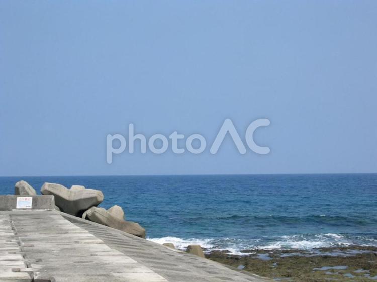 堤防と海の写真