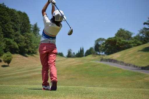 Golf girl follow