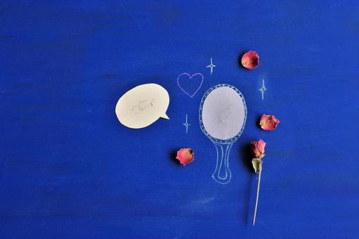 거울과 장미와 하트와 풍선