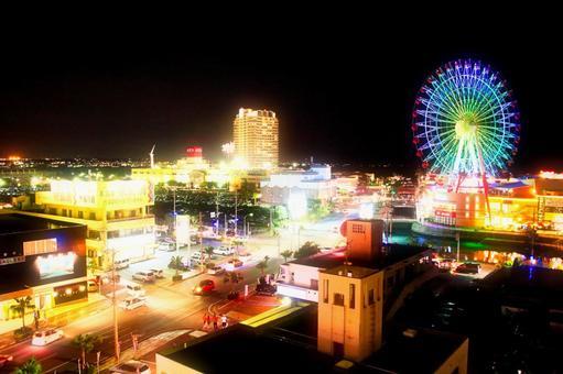 Night view of Mihama Town Resort · American Village in Chatanicho Okinawa Prefecture